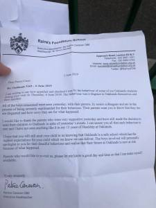 oaklands head apology