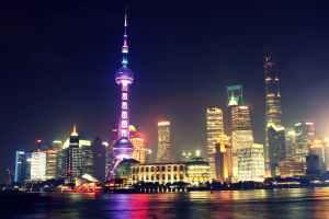 night skyline skyscrapers shanghai
